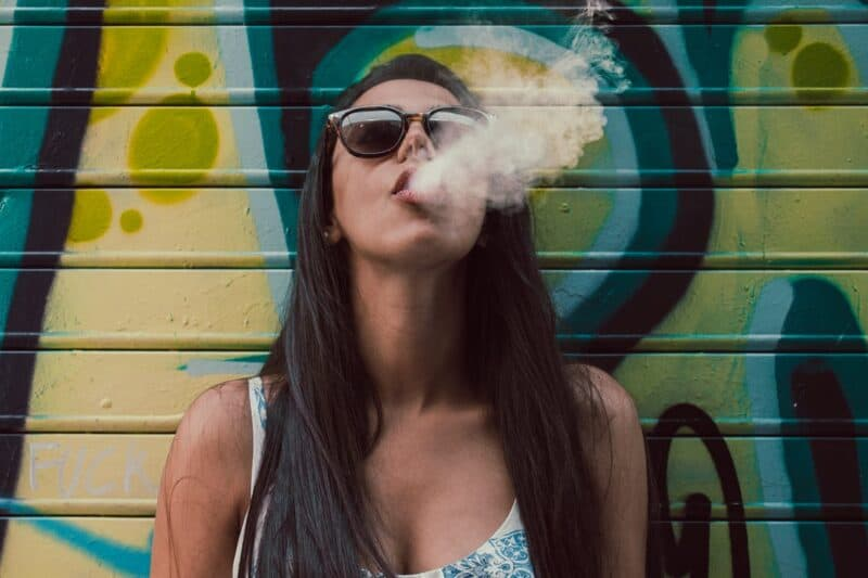 Skin care in winter Photo of woman wearing sunglasses while smoking
